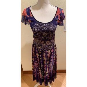 Vivienne Tam Printed Mesh Dress, Size Petite